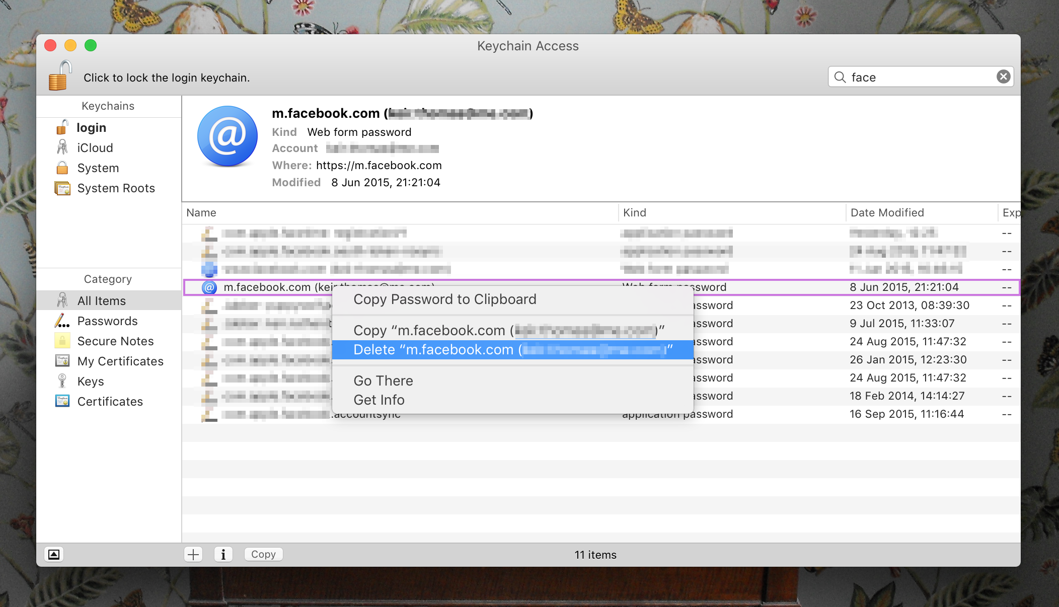 How to clear the cache and history of Safari on Mac: Keychain