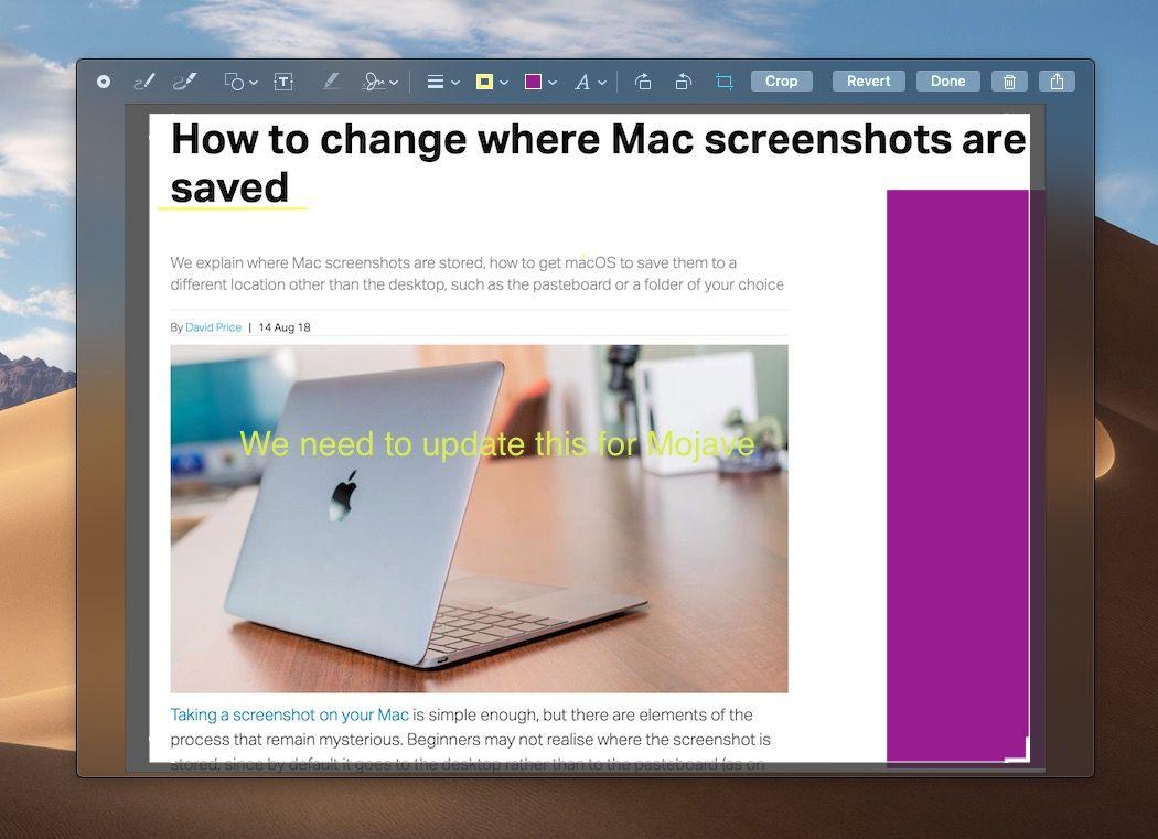 Edit screenshot in Mojave