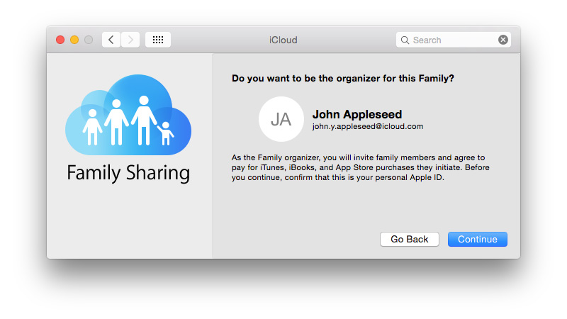 How to set up Family Sharing: Family Sharing Organizer window