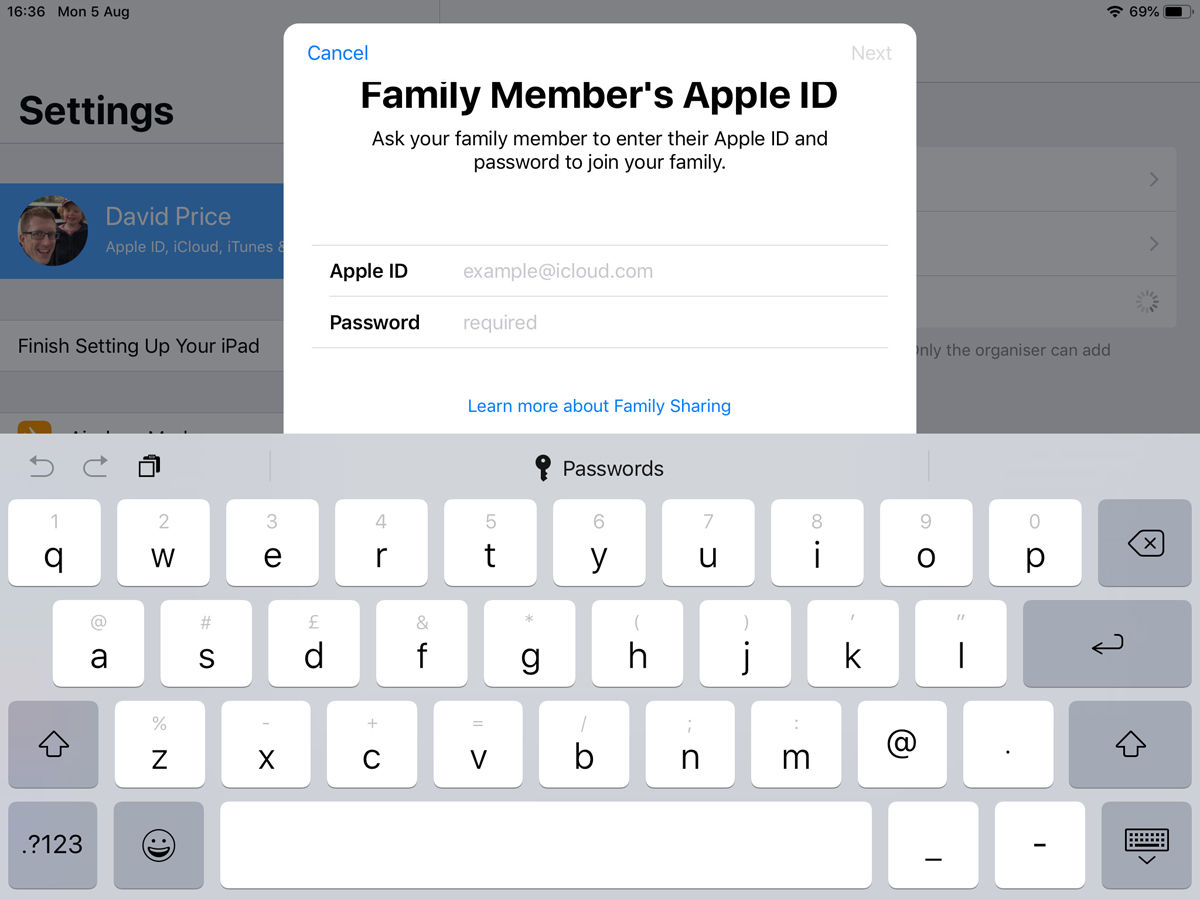 How to set up Family Sharing: Invite in person