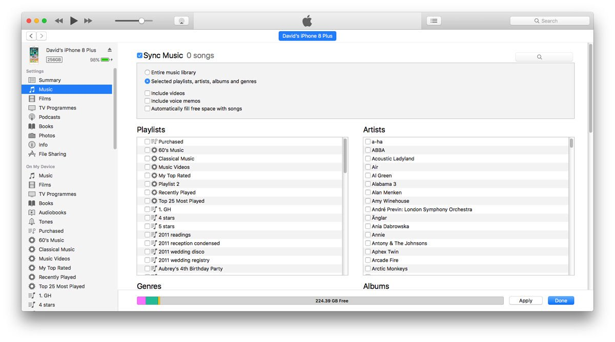 Delete music on an iPhone: iTunes