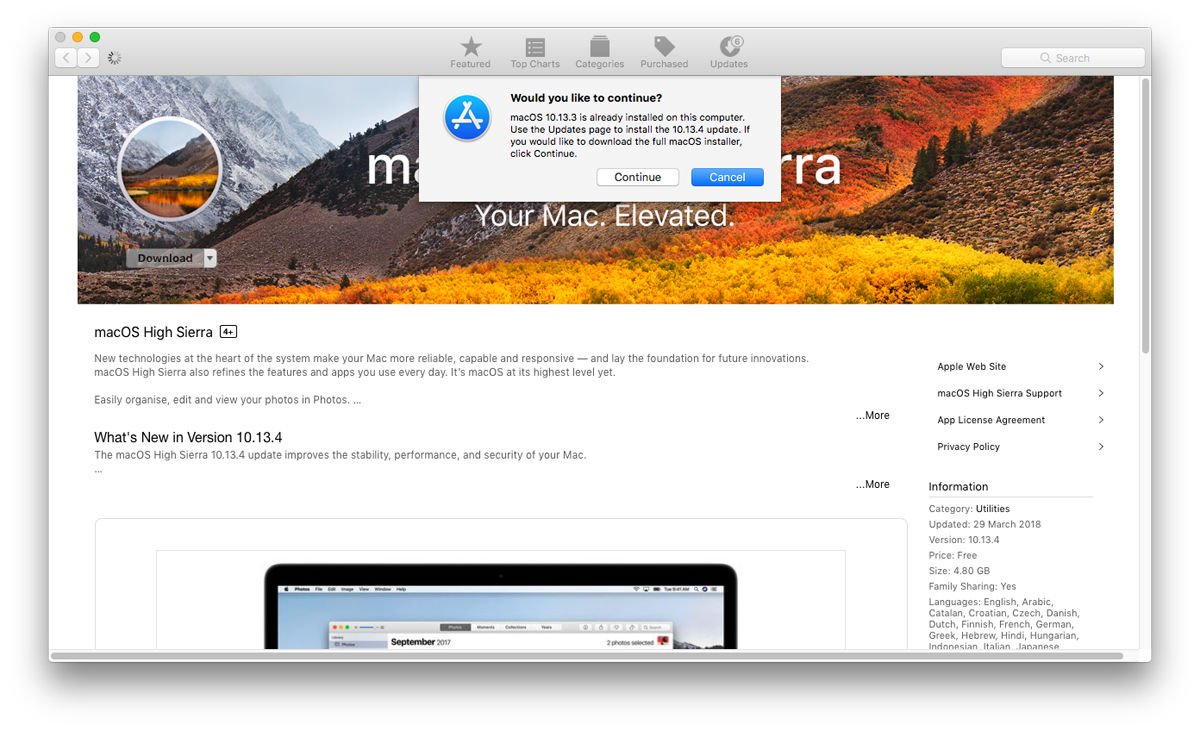 How to create a Mac recovery partition: macOS High Sierra installer