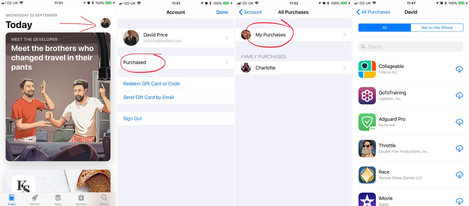 How to find the purchased page in the iOS 11 App Store