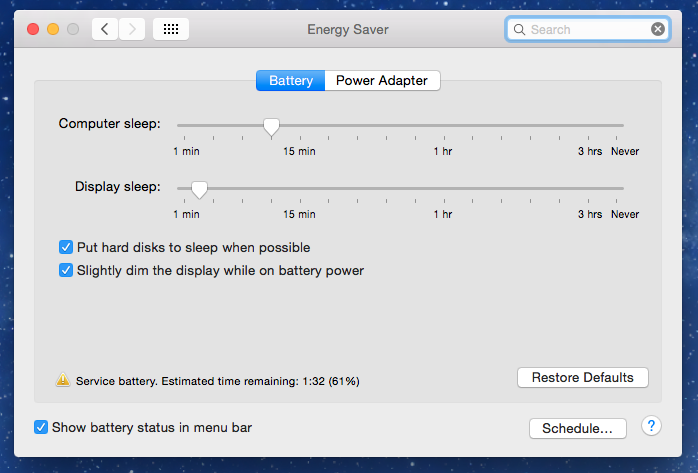 Battery life in Mac OS X