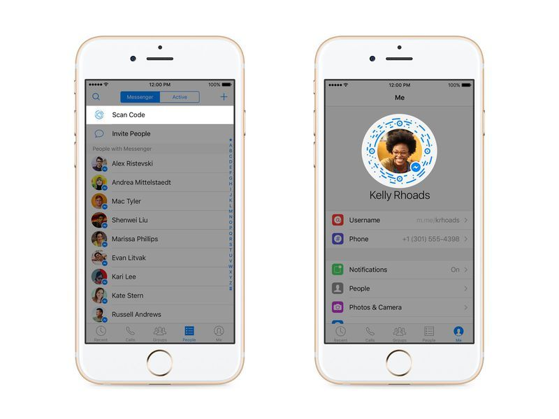 Scan a QR code with an iPhone: Facebook Messenger codes
