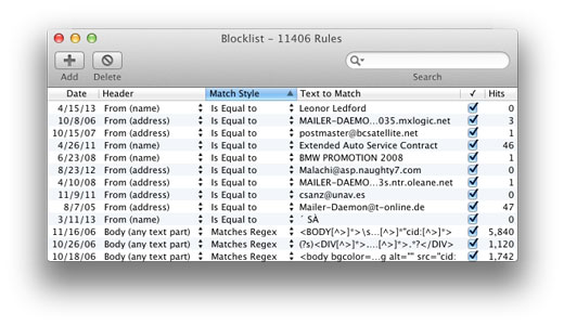 Spamsive block list