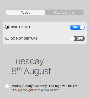 Use and enable night shift on Mac: Notification Center