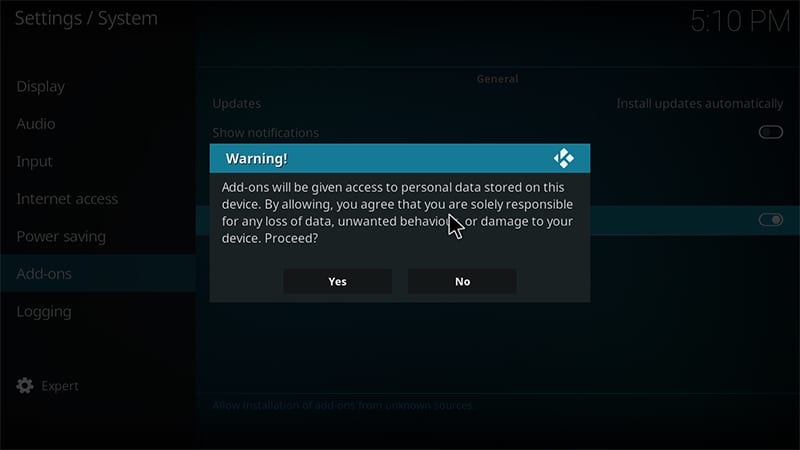 kodi warning for unknown sources