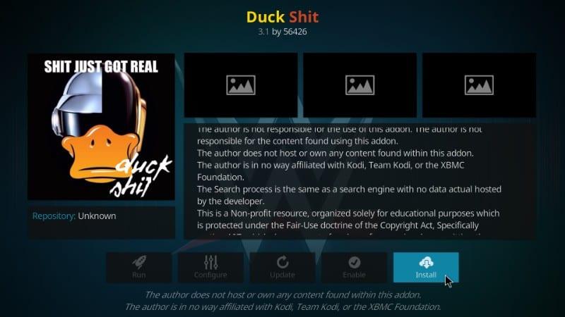 Install Duck Shit Kodi Addon