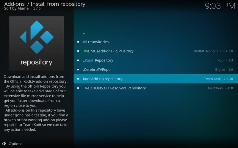 official kodi addon repository