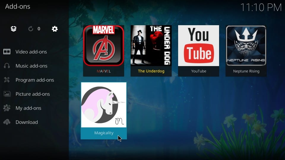 how to use Magicality on Kodi