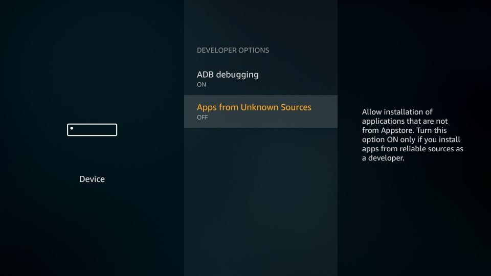 allow apps from unknown sources on TV stick