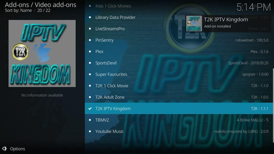 how to install t2k iptv kingdom on kodi