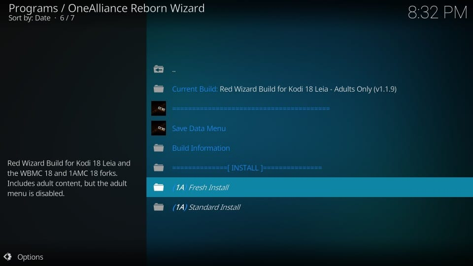 fresh installation red wizard build on kodi