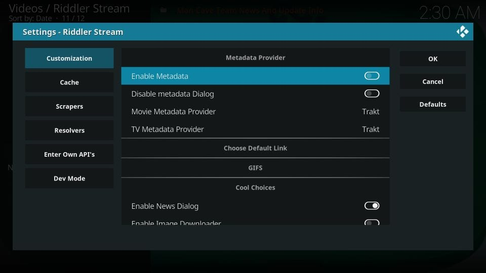 Turn off metadata processing on riddler stream kodi addon