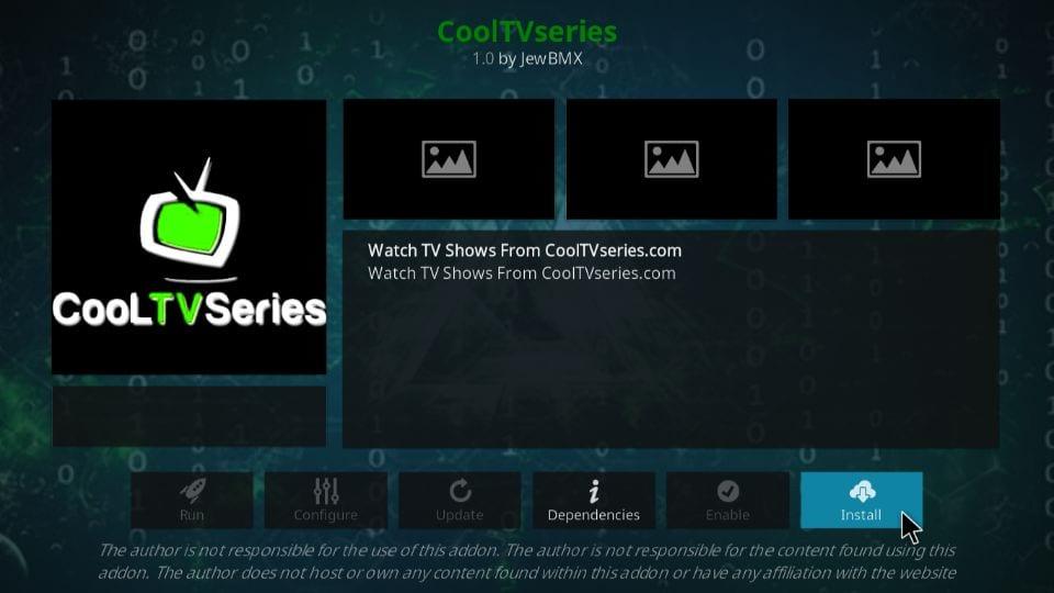 steps to install cool TV series addon on kodi