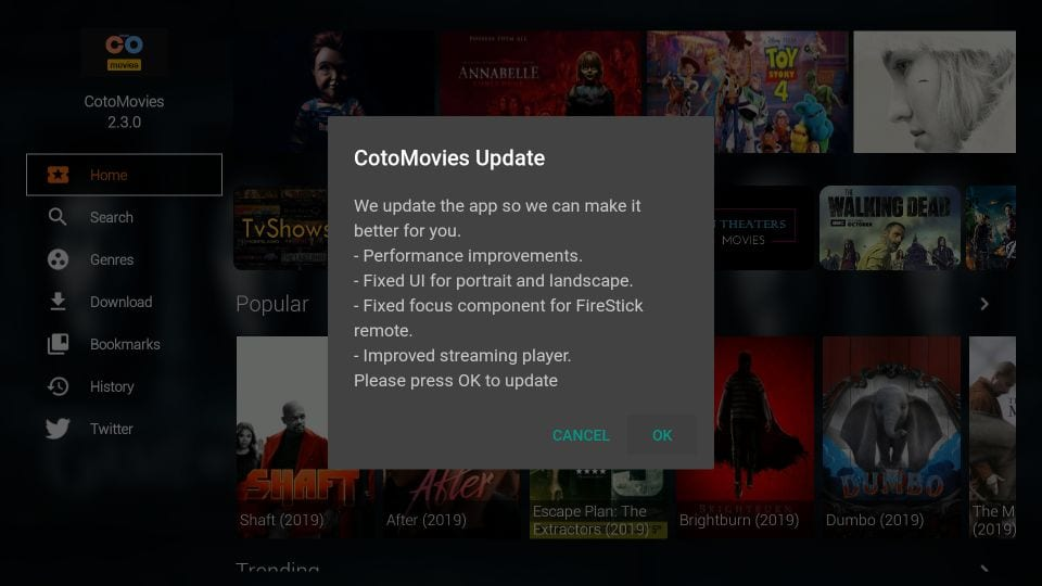 update cotomovies on firestick