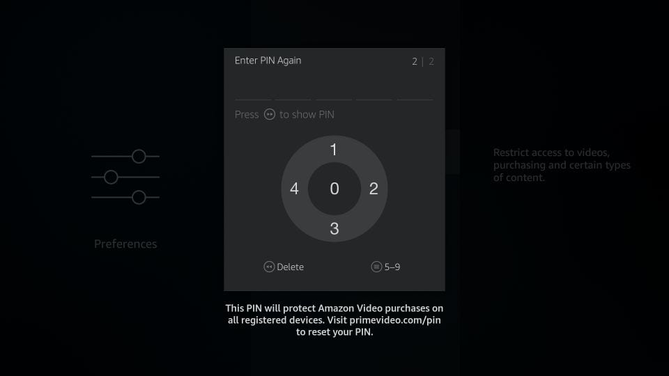Re-enter the PIN for parental controls