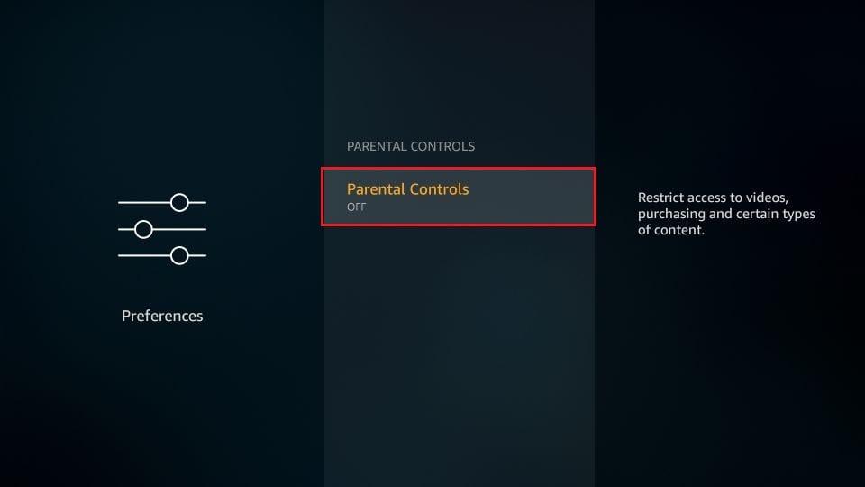 Click parental controls again