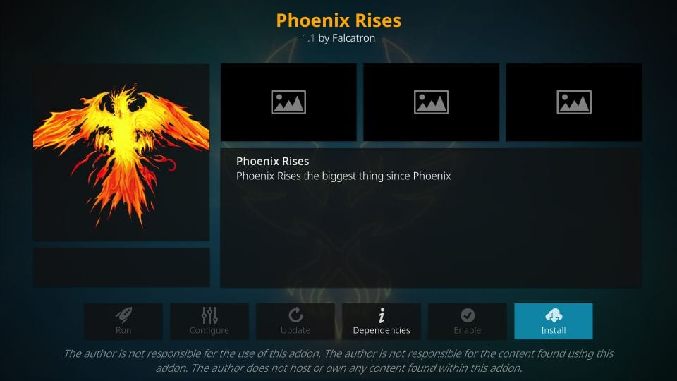 install phoenix rises kodi addon