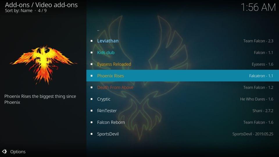 download phoenix rises addon on kodi
