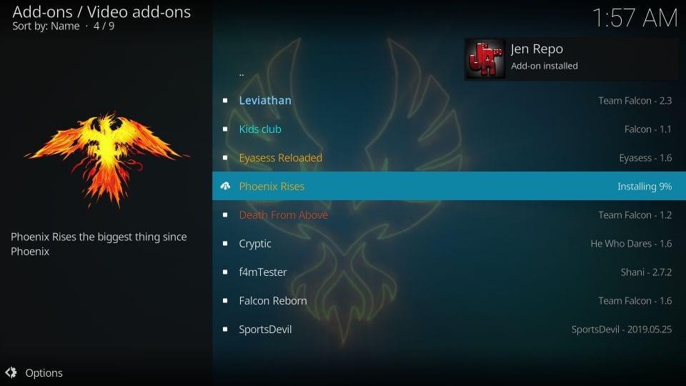 Set up Phoenix rises kodi addon