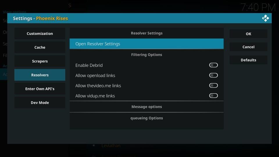 Open resolver settings