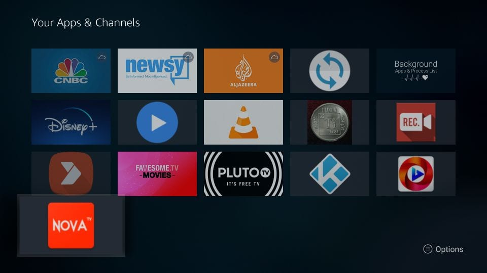 bring nova TV app to the front screen of Amazon fire TV stick