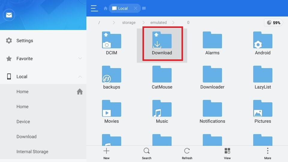 Use es file explorer on firestick to clear storage