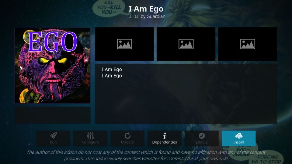 how to    install I'm ego kodi addon