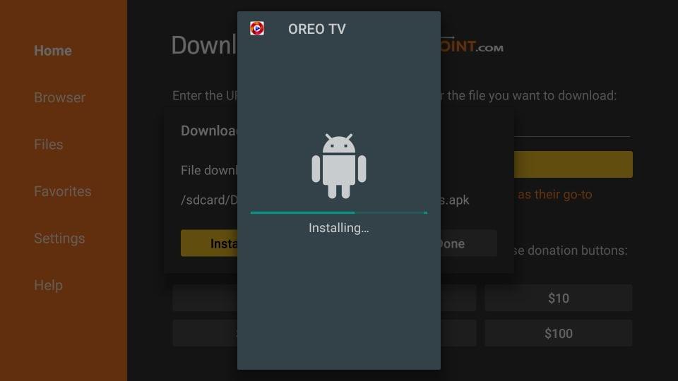 installing oreo TV apk on Firestick