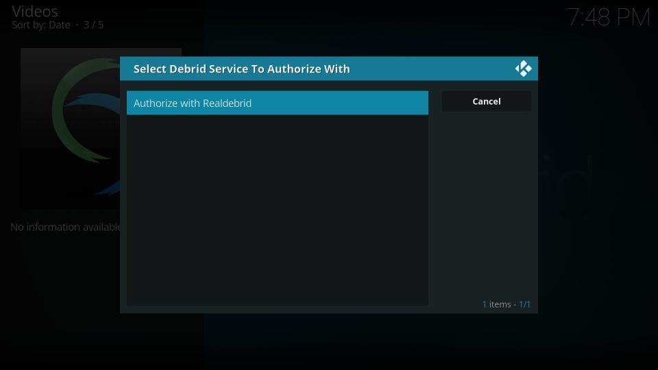 authorize with realdebrid