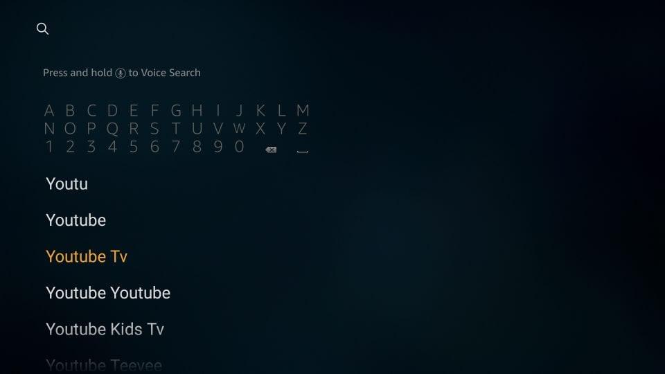 install youtube TV firestick app