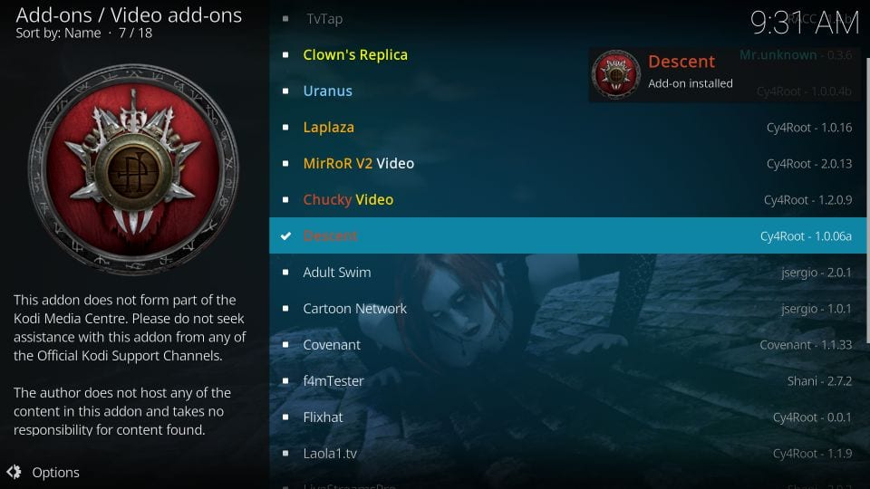 Descent addon on kodi