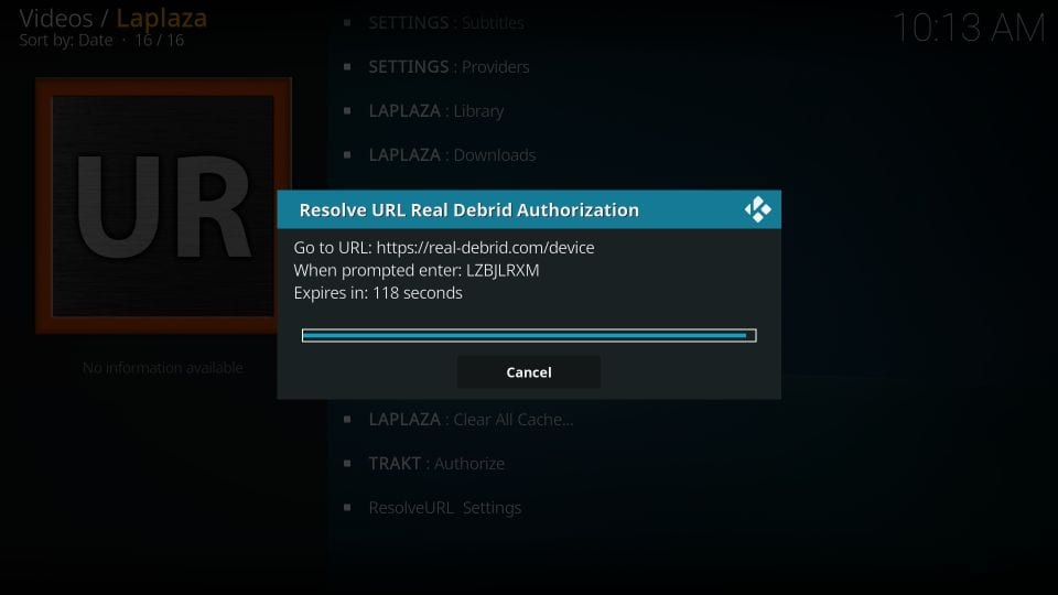 How to    add real debrid to Laplaza addon on kodi