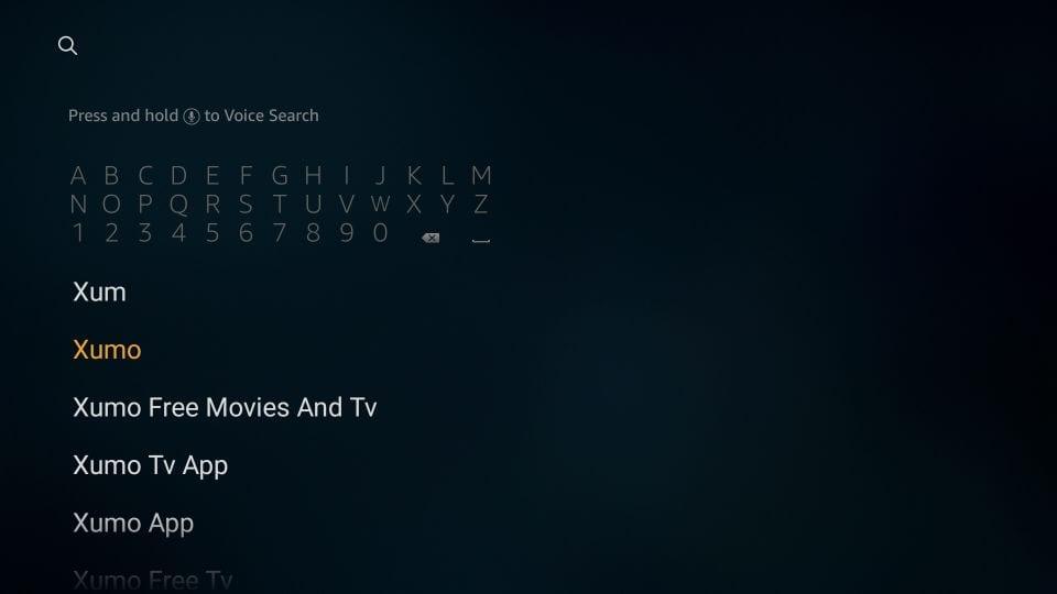 search xumo TV on fire TV stick