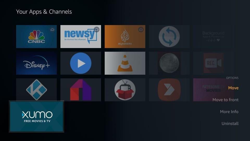 move xumo app to home Screen