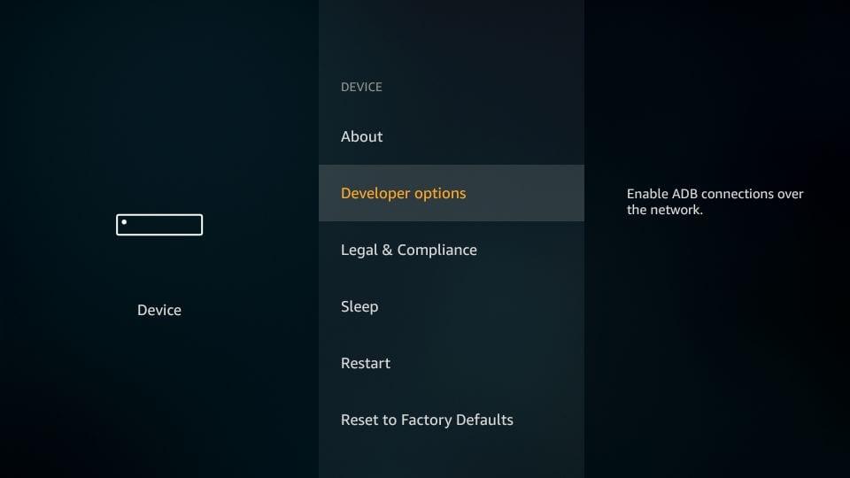Firestick developer options