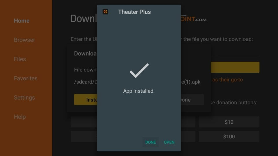 how to    install theater plus app on firestick
