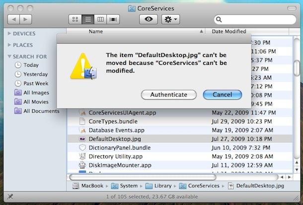 change mac os x login background