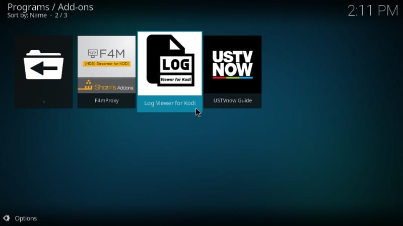 check the log book for more information kodi error