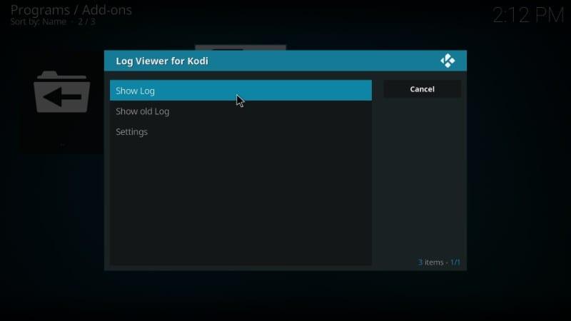 how to    kodi-log check