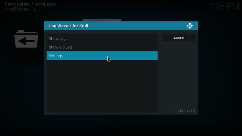 where to find the kodi error log file