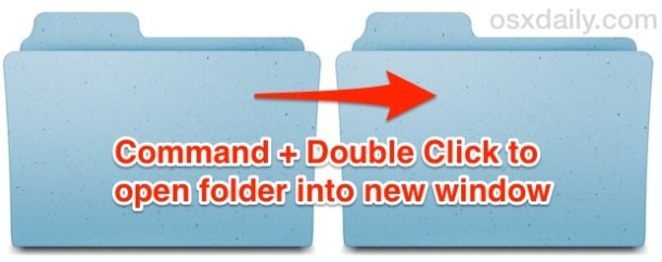 Command + Double click to open a folder in a new window