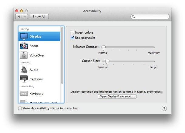 Display options for Mac accessibility in OS X