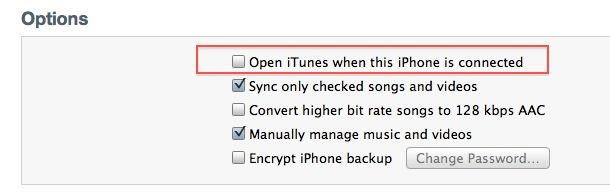 stop itunes from starting up when the iphone is connected