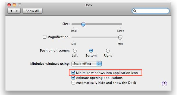 how to    minimize apps in the dock icon