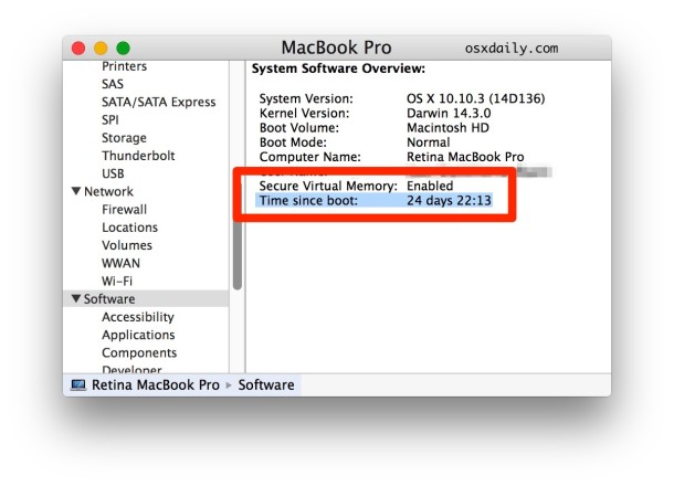 Time since boot into Mac system information