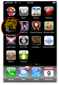 pause the download of the iphone app