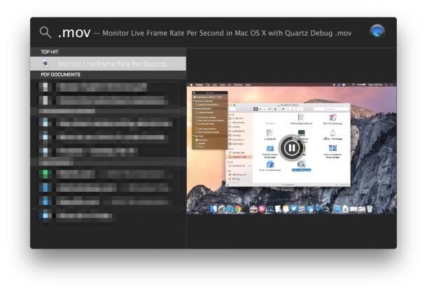 Play videos in Spotlight results on Mac
